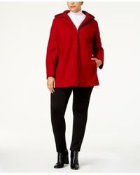 London Fog | Red Plus Size Seamed Peacoat | Lyst