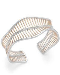 Macy's | Multicolor Diamond Wavy Cuff Bracelet In 18k Rose Gold Over Sterling Silver And Sterling Silver (1/4 Ct. T.w.) | Lyst