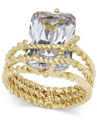 Charter Club - Metallic Gold-tone Cubic Zirconia Wrap Ring - Lyst