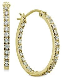 """Giani Bernini - Metallic Small Cubic Zirconia In & Out Oval Hoop Earrings In 18k Gold-plated Sterling Silver, 0.6"""", Created For Macy's - Lyst"""