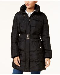 CALVIN KLEIN 205W39NYC - Black Belted Faux-fur-trimmed Puffer Coat - Lyst