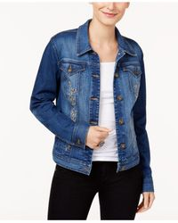 Style & Co. - Blue Embroidered Denim Jacket - Lyst