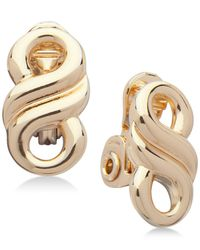 Anne Klein | Metallic Gold-tone Infinity Clip-on Button Earrings | Lyst