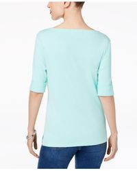 Karen Scott Blue Cotton Elbow-sleeve Top, Created For Macy's