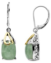Macy's | Metallic 14k Gold And Sterling Silver Earrings, Jade Rectangle Drops (6 Ct. T.w.) | Lyst