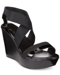 Charles David - Black Feature Wedge Sandals - Lyst