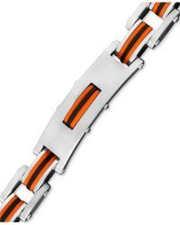 Macy's - Multicolor Men's Stainless Steel And Rubber Bracelet, Rectangle Link Bike Chain for Men - Lyst