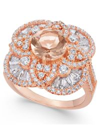 Macy's   Metallic Synthetic Morganite & Cubic Zirconia Filigree Floral Ring In 14k Rose Gold-plated Sterling Silver   Lyst