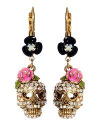 Betsey Johnson | Metallic Crystal Skull And Flower Drop Earrings | Lyst