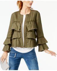 INC International Concepts - Green Linen Ruffled Jacket - Lyst