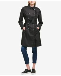 DKNY - Black Ruffle-trim Belted Trench Coat - Lyst