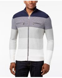 INC International Concepts - Blue Men's Copperfield Striped Zip Sweater for Men - Lyst