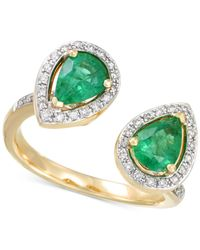Rare Featuring Gemfields - Metallic Certified Emerald (1-1/6 Ct. T.w.) And Diamond (1/4 Ct. T.w.) Teardrop Bypass Ring In 14k Gold - Lyst