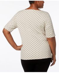 Karen Scott Natural Plus Size Cotton Polka Dot Elbow-sleeve T-shirt, Created For Macy's