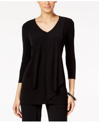 Alfani - Black Layered-look Draped-front Top, Only At Macy's - Lyst