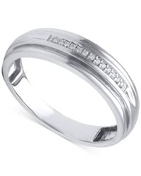 Beautiful Beginnings - Metallic Men's Diamond Accent Band In 14k White Gold for Men - Lyst
