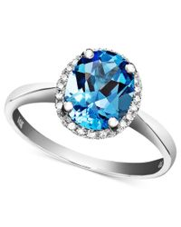 Macy's | 14k White Gold Ring, Blue Topaz (2 Ct. T.w.) And Diamond Accent Oval | Lyst