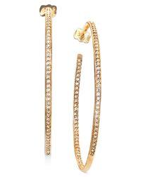 Danori | Metallic Earrings, Gold-tone In And Out Crystal Hoop | Lyst