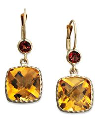 Macy's | Multicolor 14k Gold Earrings, Citrine (8-1/5 Ct. T.w.) And Garnet (3/4 Ct. T.w.) Cushion Cut Drop | Lyst