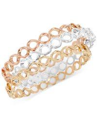 Touch Of Silver - Metallic Tri-tone 3-pc. Set Bangle Bracelets - Lyst