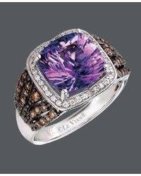 Le Vian | Multicolor Amethyst (3-1/2 Ct. Chocolate Diamond (1/3 Ct. T.w.) And White Diamond (1/6 Ct. T.w.) Square In 14k White Gold | Lyst