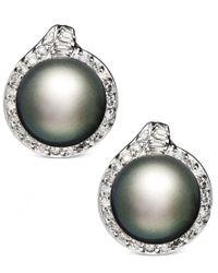 Macy's   Metallic 14k White Gold Earrings, Cultured Tahitian Pearl (11mm) And Diamond (3/4 Ct. T.w.) Stud Earrings   Lyst
