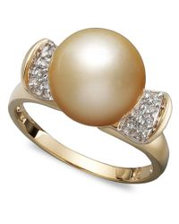 Macy's   Metallic 14k Gold Ring, Cultured Golden South Sea Pearl (10mm) And Diamond (1/8 Ct. T.w.) Ring   Lyst