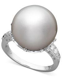 Macy's | Gray 14k White Gold Ring, Cultured South Sea Pearl (14mm) And Diamond (1/5 Ct. T.w.) Ring | Lyst
