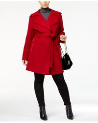 Michael Kors - Red Plus Size Asymmetrical Skirted Walker Coat - Lyst