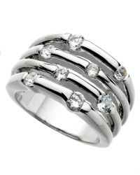 Guess | Metallic Ring, Silver-tone Four Row Crystal | Lyst