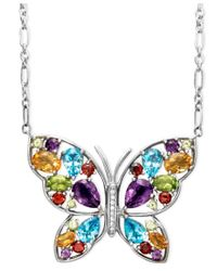 Macy's - Blue Sterling Silver Necklace, Multistone And Diamond Accent Butterfly Pendant - Lyst