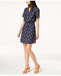 Calvin Klein Jeans - Blue Printed Fit & Flare Dress - Lyst
