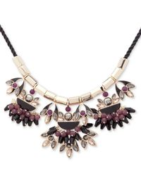 Ivanka Trump - Metallic Gold-tone Multi-stone Black Cord Statement Necklace - Lyst