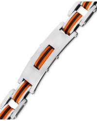 Macy's | Multicolor Men's Stainless Steel And Rubber Bracelet, Rectangle Link Bike Chain for Men | Lyst