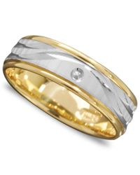 Macy's - Metallic Men's 14k Gold And 14k White Gold Ring, Wave Engraved Band for Men - Lyst