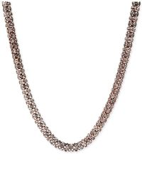Anne Klein - Pink Rose Gold-tone Pavé Tubular Collar Necklace - Lyst