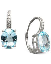 Macy's | Metallic Sterling Silver Earrings, Blue Topaz (7 Ct. T.w.) And Diamond Accent Oval Earrings | Lyst