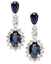 Macy's - Sapphire (2 Ct. T.w.) And Diamond (1/3 Ct. T.w.) Drop Earrings In 14k White Gold - Lyst