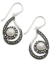 Macy's - Metallic Marcasite & Imitation Pearl Swirl Drop Earrings In Silver-plate - Lyst
