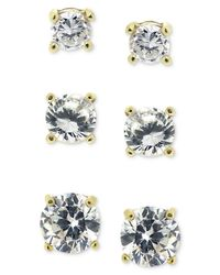 Giani Bernini | Metallic 18k Gold Over Sterling Silver Earring Set, Cubic Zirconia Round Trio Stud Set (1-3/4 Ct. T.w.) | Lyst