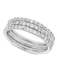 Giani Bernini | Metallic Sterling Silver Ring Set, Cubic Zirconia Stackable Ring Set (2-1/5 Ct. T.w.) | Lyst