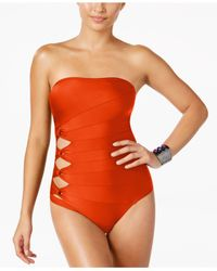 Carmen Marc Valvo - Red Cutout Strapless One-piece Swimsuit - Lyst