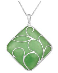 Macy's | Green Sterling Silver Necklace, Jade Swirl Overlay Pendant | Lyst