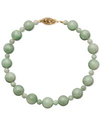 Macy's | Green 14k Gold Bracelet, Jade Bead Strand | Lyst
