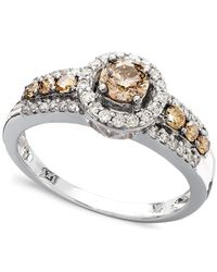 Le Vian   Brown Chocolate And White Diamond Ring In 14k White Gold (3/4 Ct. T.w.)   Lyst