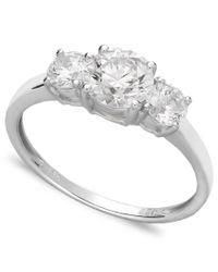 Arabella | Metallic 14k White Gold Ring, Swarovski Zirconia Small Three Stone Ring (2-3/8 Ct. T.w.) | Lyst