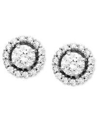 Arabella | Metallic 14k White Gold Earrings, Swarovski Zirconia Round Pave Stud Earrings (2-7/8 Ct. T.w.) | Lyst