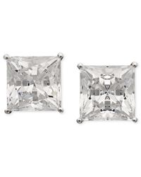 Arabella | 14k White Gold Earrings, Swarovki Zirconia Princess Cut Stud Earrings (9-3/4 Ct. T.w.) | Lyst