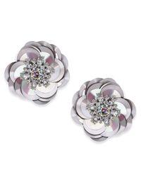 Kate Spade - Metallic Silver-tone Crystal & Sequin Stud Earrings - Lyst