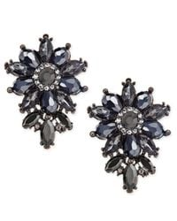 INC International Concepts - Multicolor Hematite-tone Crystal Cluster Flower Stud Earrings - Lyst